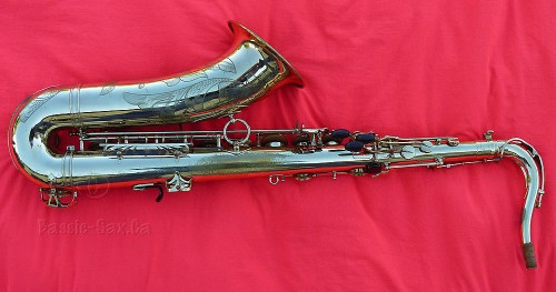tenor saxophone, Selmer Mark VI, red cloth, gold lacquer sax