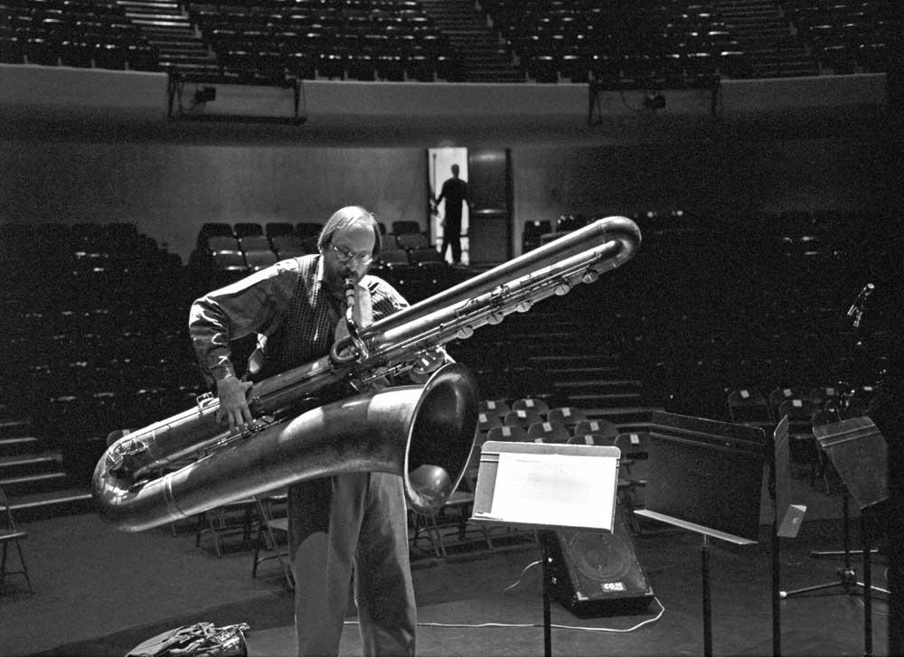 photograph of a contrabass saxophone