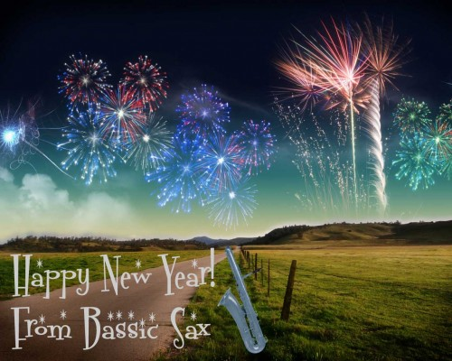 bass saxophone, country road, fireworks, New Year's greeting