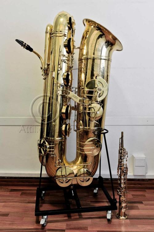 J'Elle Stainer subcontrabass saxophone, soprano saxophone