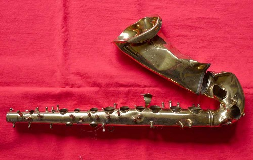 alto sax, crushed, red, Conn, Shooting Stars, Director Series, brass, saxophone