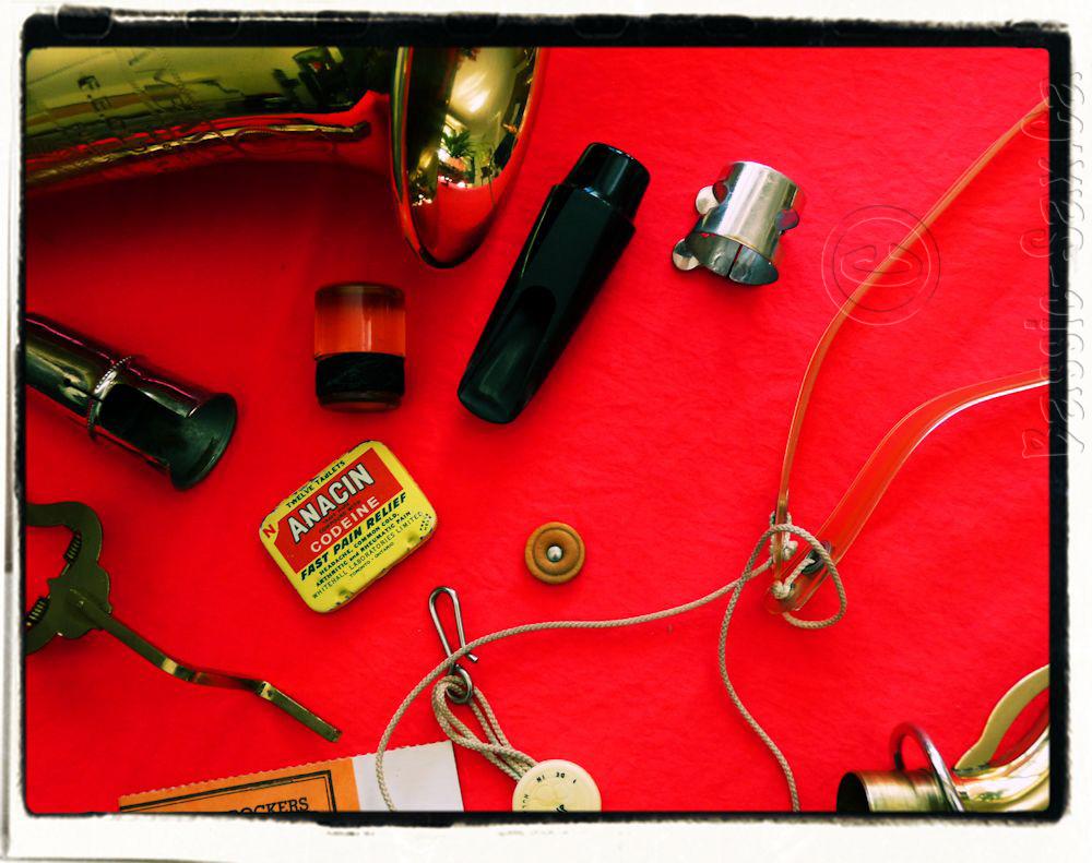 saxophone, accessories, vintage, neckstrap, mouthpiece, ligature, mouthpiece cap, end plug, saxophone bell, sax neck, Anacin tin