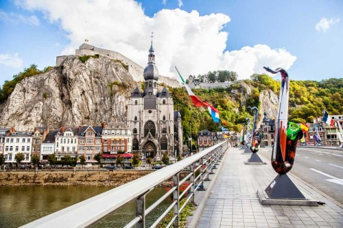 Belgium, bridge, saxophone sculptures, Collegiate Church of Notre-Dame, moutain, houses, citadel, Meuse River