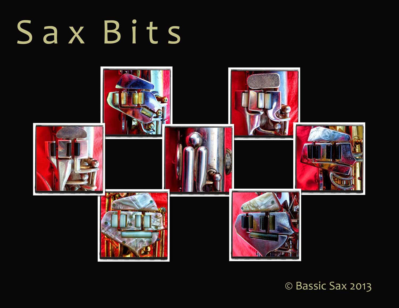 sax bits, collage, left pinkie clusters, saxophone parts, vintage saxophones
