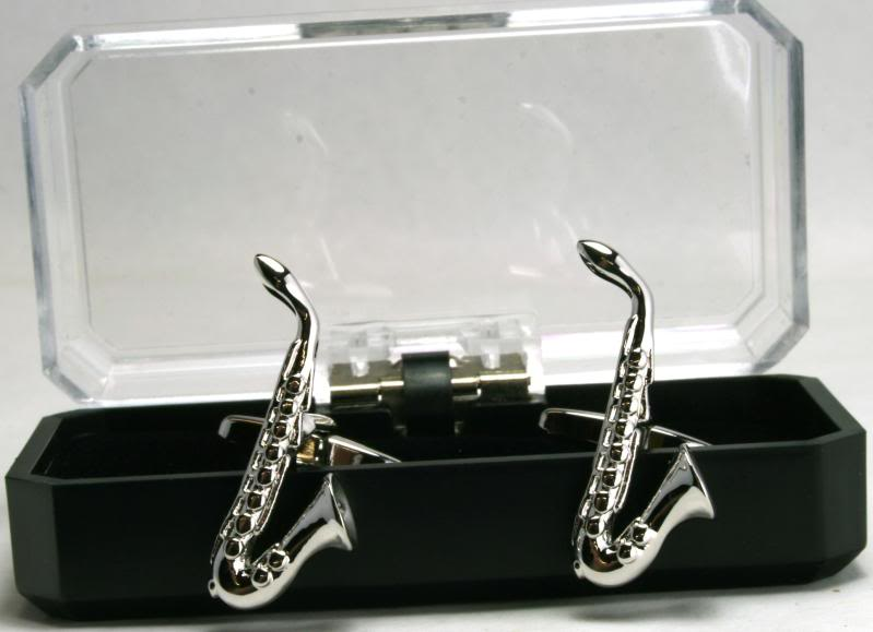 silver cuff links, saxophone-shaped cuff links, gift box, Father's Day gift
