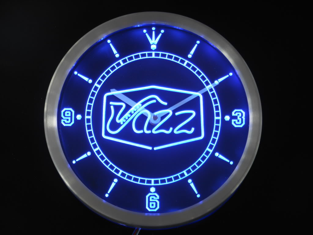 bar clock, neon clock, blue clock, saxophone clock, jazz clock, Father's Day gift