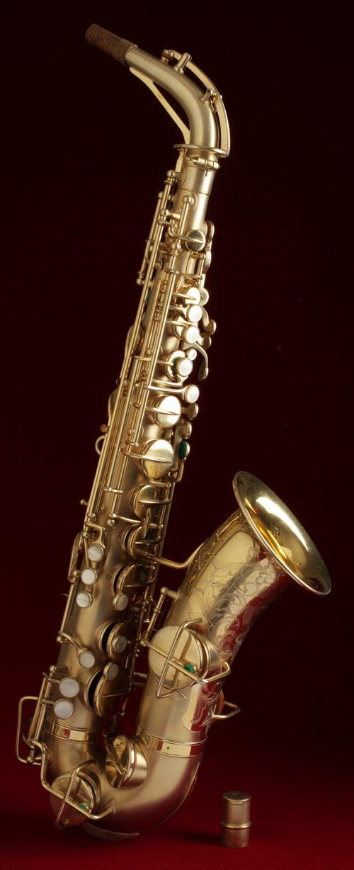 vintage saxophone, alto sax, gold plated, Martin Master, Typewriter,