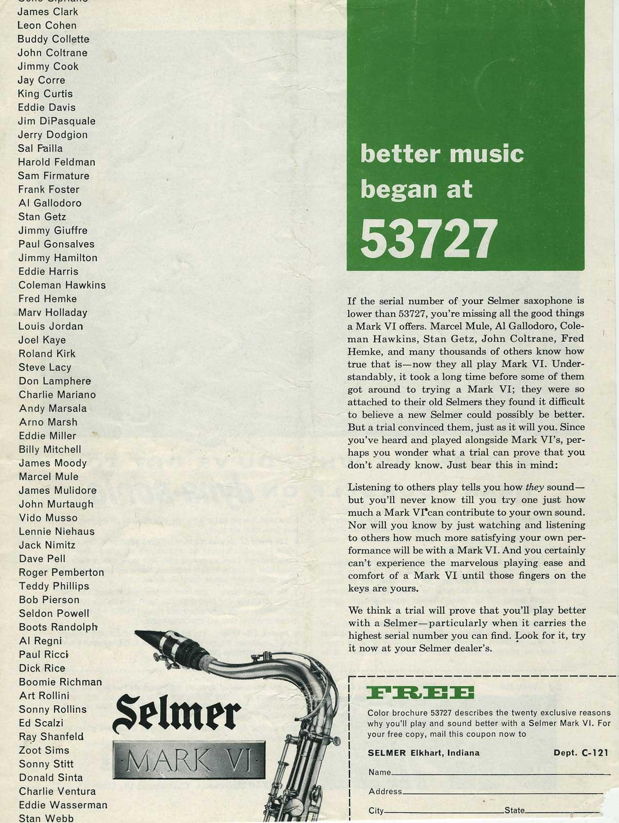 Selmer Mark VIs Began At # 53727 | The Bassic Sax Blog