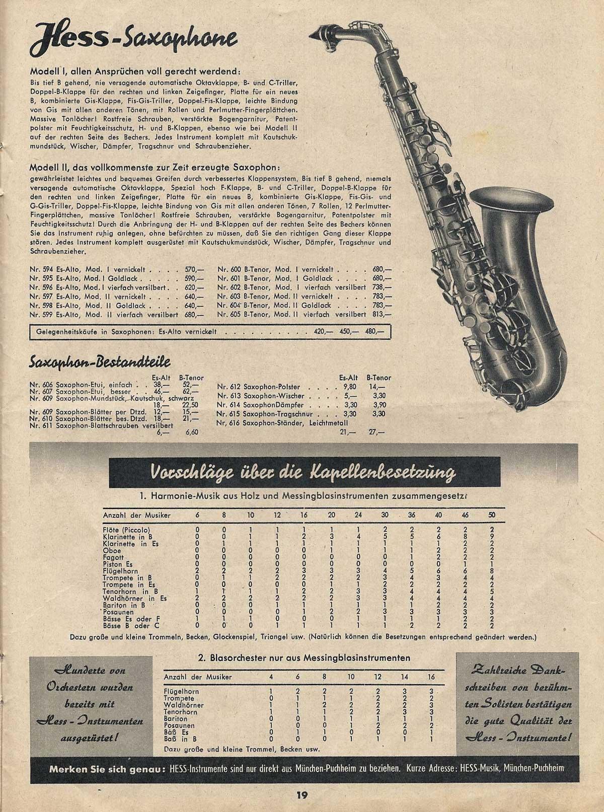 vintage musical instrument catalogue, Ernst Hess, Hess saxophones, 1950, West German saxophone,