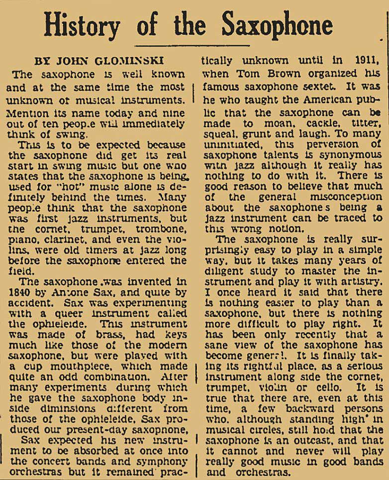 Harold-Journal-May-5,-1940, History of the saxophone, archival newspaper article, John Glominski