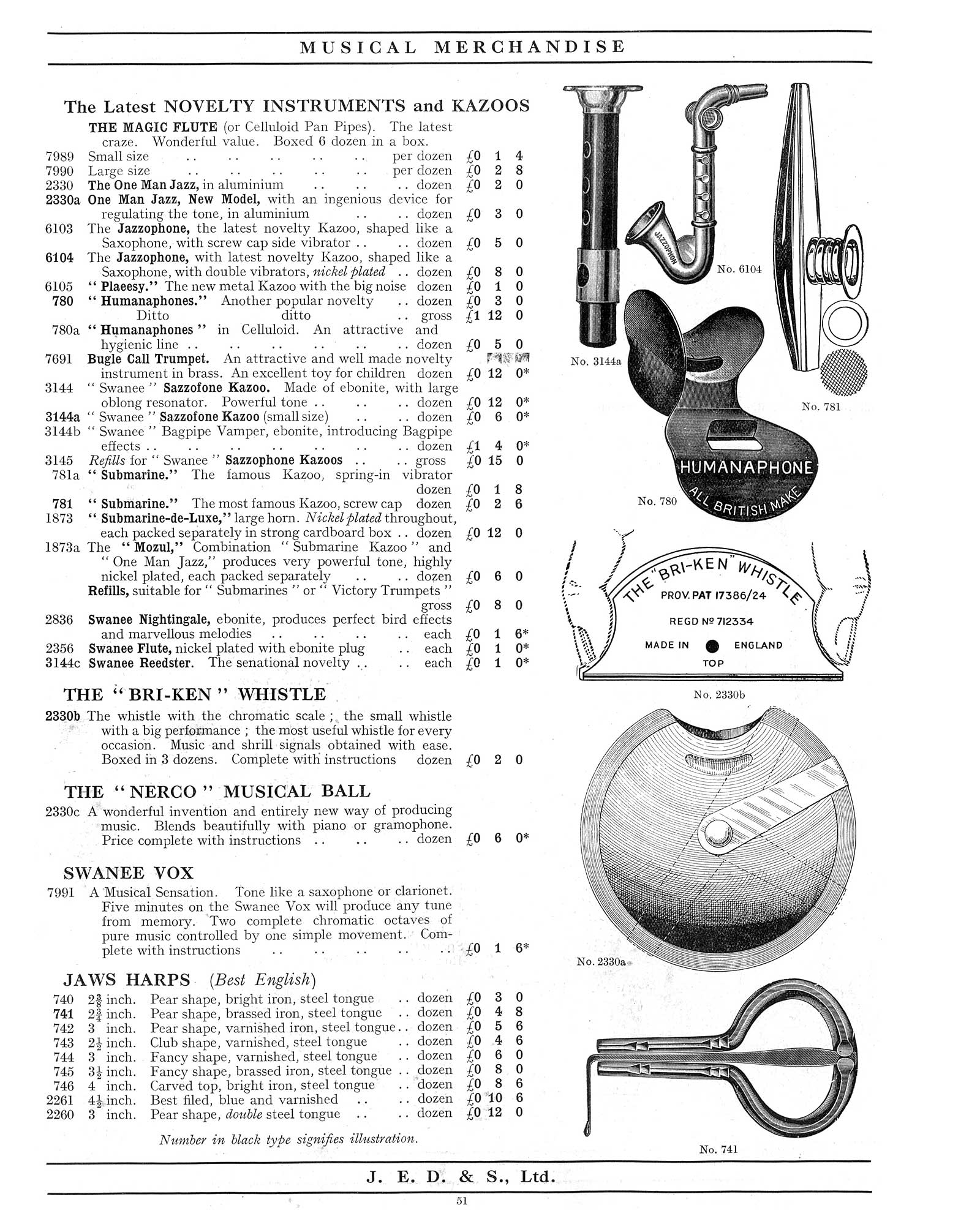 "1930 Jedson & Mastertone catalogue, vintage catalogue, sax-shaped ""things"", Jazzophon, kazoo"