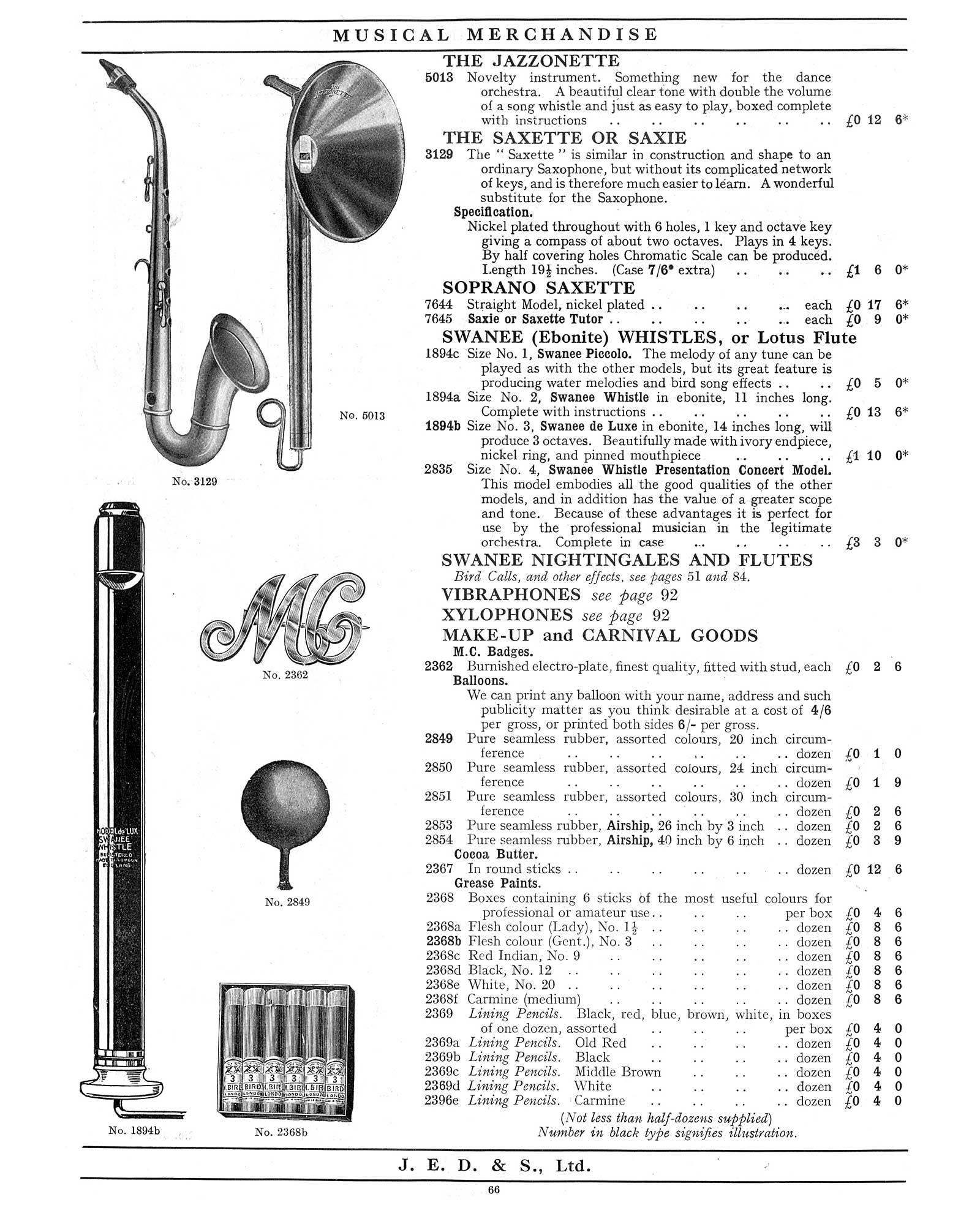 "1930 Jedson & Mastertone catalogue, vintage catalogue, sax-shaped ""things"", Saxette, Saxie"