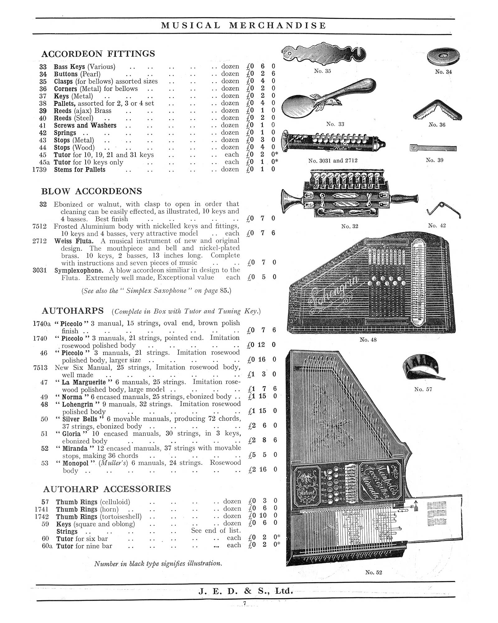 "1930 Jedson & Mastertone catalogue, vintage catalogue, sax-shaped ""things"", Weiss Fluta, blow accordions"