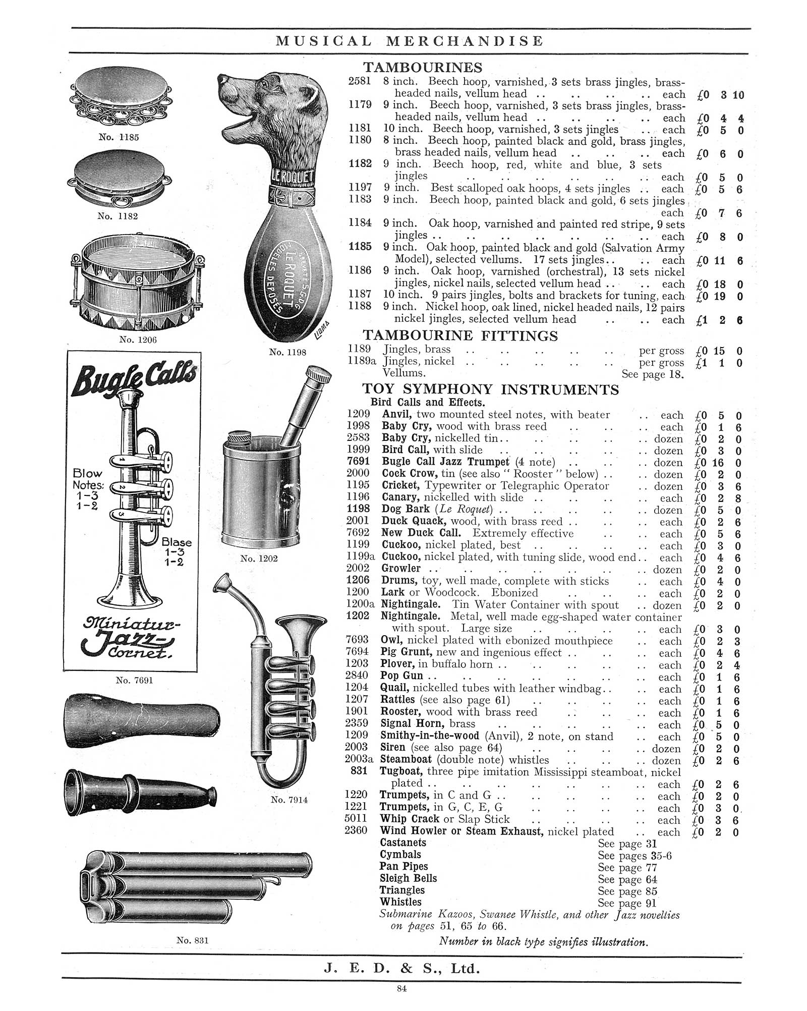 "1930 Jedson & Mastertone catalogue, vintage catalogue, sax-shaped ""things"", sax-shaped brass toys, 4-valve toy saxophone"