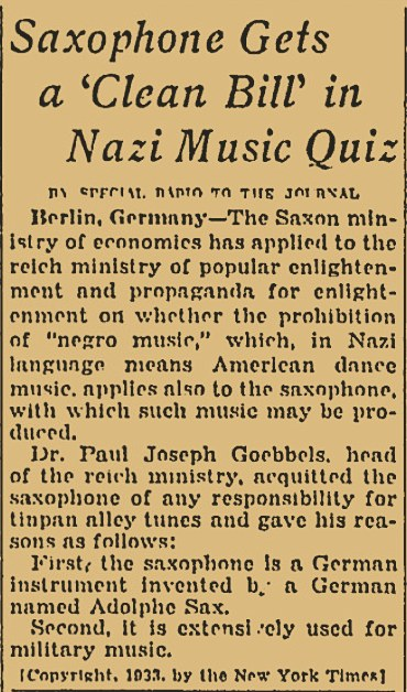 Nazi Views on the Saxophone, Oct. 7, 1933, The Milwaukee Journel, newspaper article, saxophones in Germany,