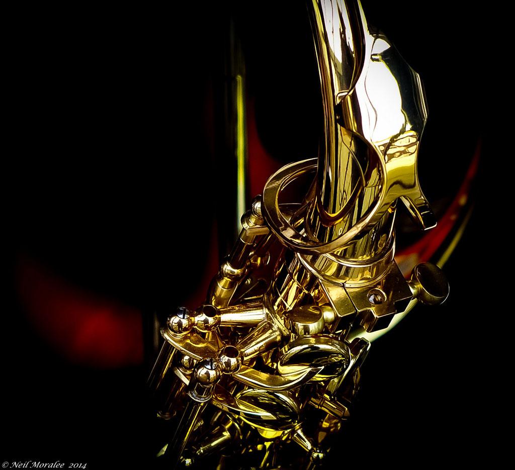 The mechanics of the music, saxophone, sax neck, octave key, alto sax