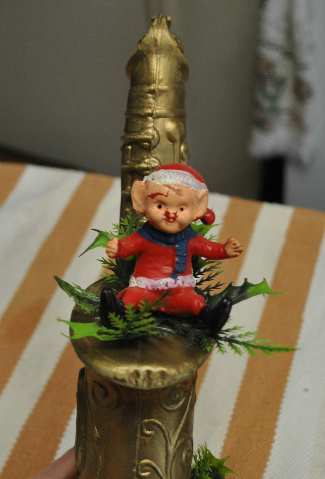 plastic holiday decoration, saxophone Christmas decoration, elf, mid-century Christmas decor, saxy Christmas kitsch