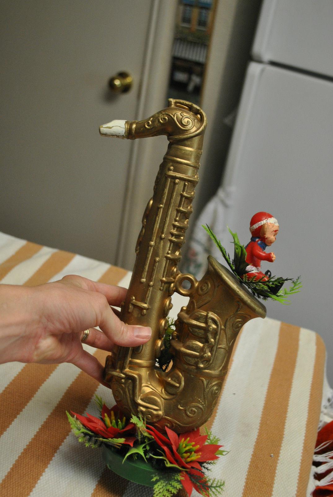 plastic holiday decoration, saxophone Christmas decoration, mid-century Christmas decor, saxy Christmas kitsch