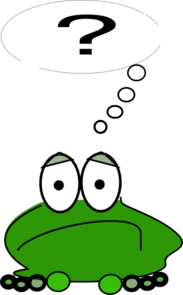 frog with question mark, green frog,