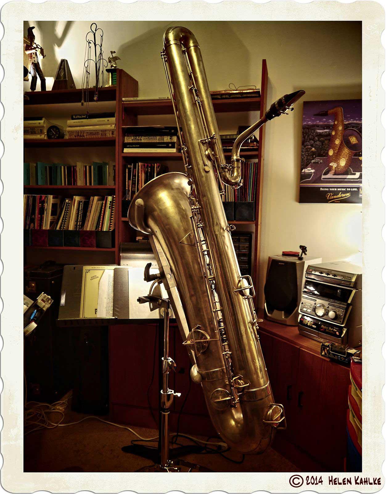 bass saxophone, Buescher bass sax, vintage sax, all about the bass, sax in sax stand, HDR photography