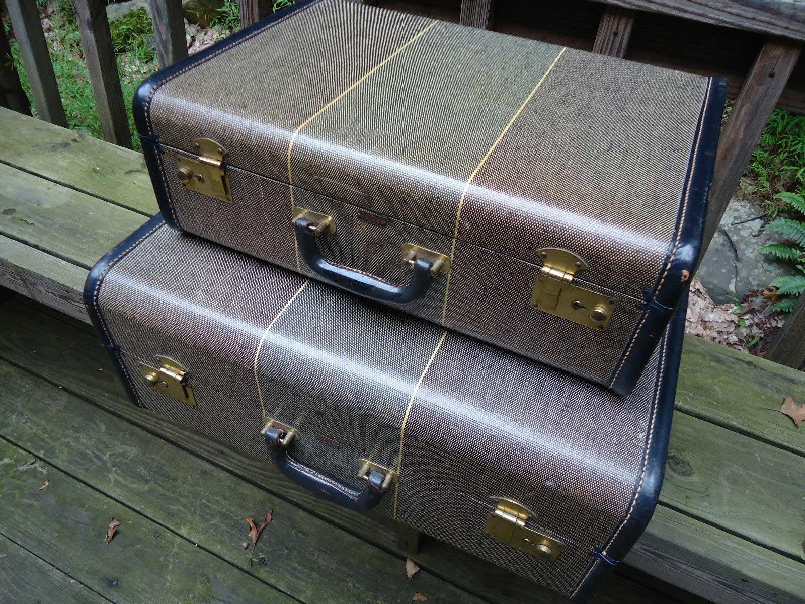 Pair-of-Vintage-Suitcases, vintage luggage, tweed suitcase, vintage suitcase