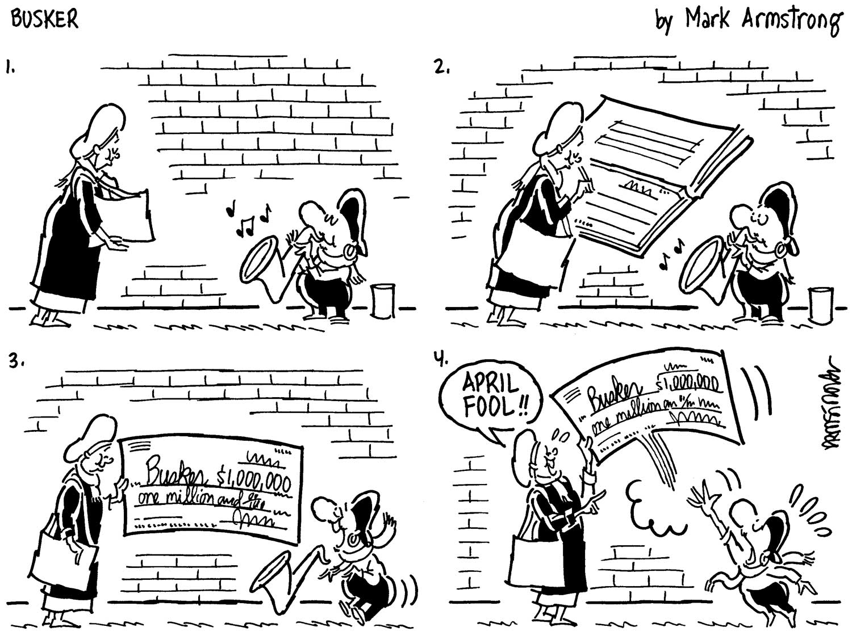saxophone cartoon, April Fools Day joke, Mark Arstrong, Busker