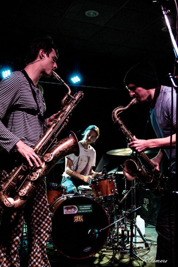 Moon Hooch,  sax 'n drums, baritone sax, tenor sax, drum set, rave music, Cave Music,