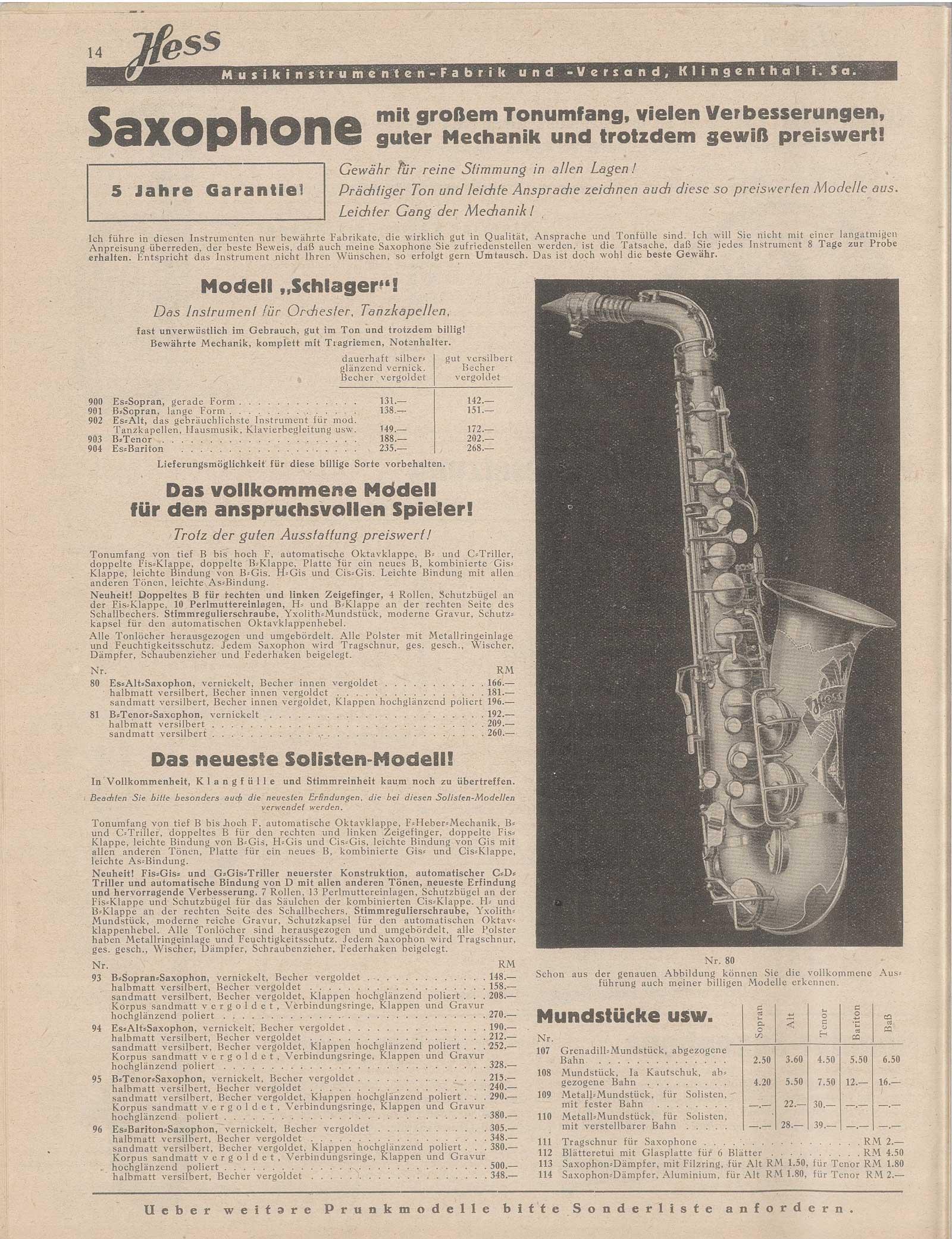 Klingenthal-era Hess saxophones, Ernst Hess, vintage musical instrument catalogue, 1940,  Graslitz, Klingenthal, Hess saxophone