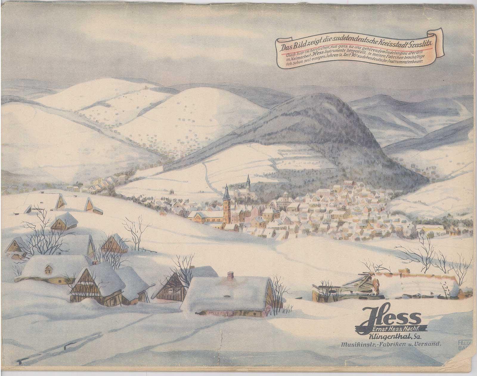 vintage catalogue, Klingenthal-era Hess saxophones, Ernst Hess, 1940 musical instrument catalogue, back cover, snow covered mountains, Graslitz
