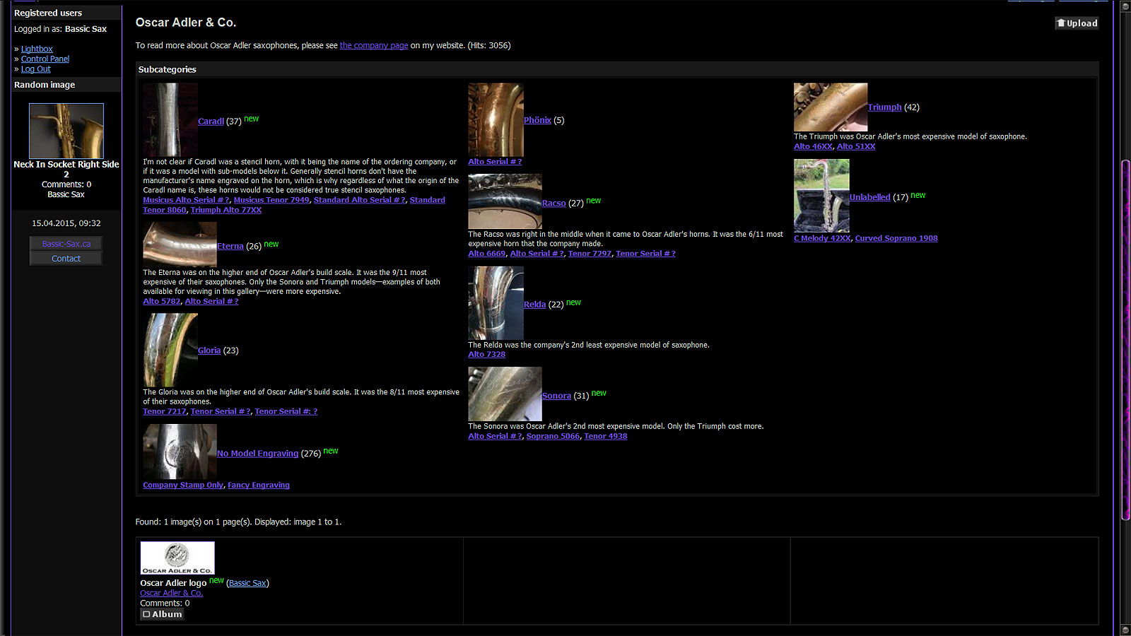 Oscar Adler Gallery, screen shot, Bassic Sax Pix, bassic-sax.info, bassic-sax.ca, vintage saxophones, vintage sax, German saxophones, Markneukirchen