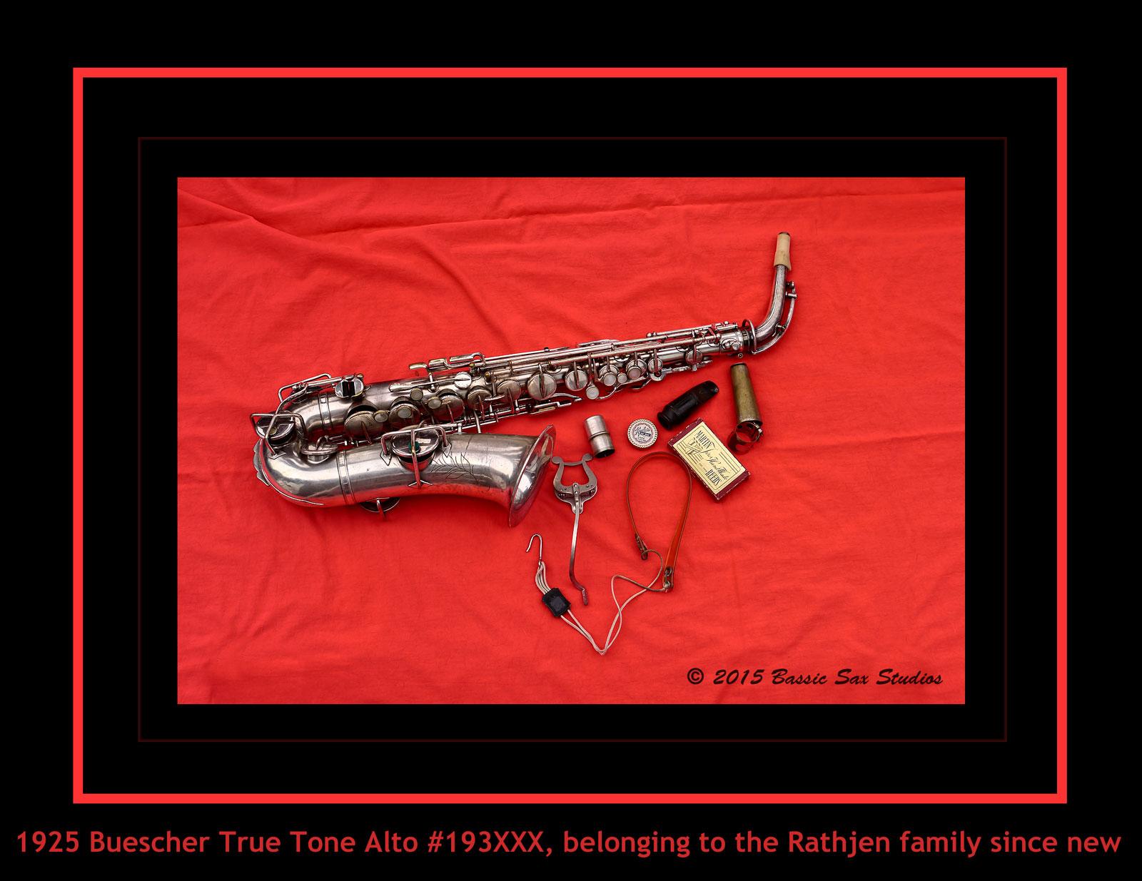 vintage American saxophone, alto sax, Buescher True Tone saxophone, silver sax, vintage accesories,