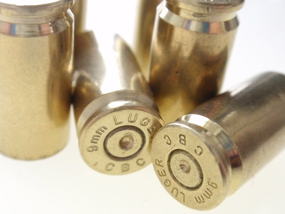 Brass shell casings, Luger 9mm shell casings, used shell casings