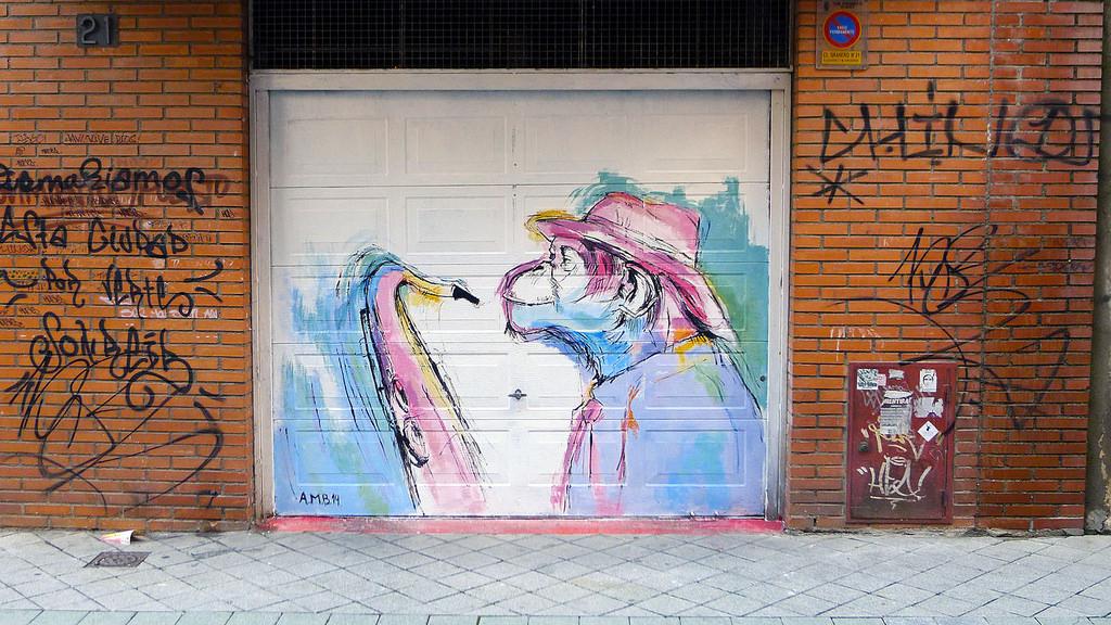 Chimp with Sax,graffiti, garage door, urban art, Spain