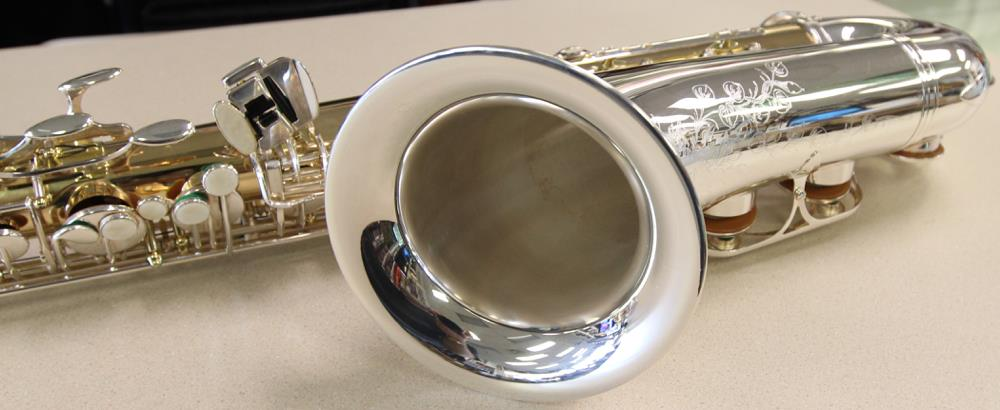 silver saxophone, B&S Medusa tenor sax, saxophone bell, German saxophone