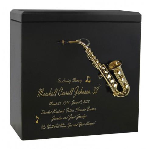 saxophone urn, wooden urn