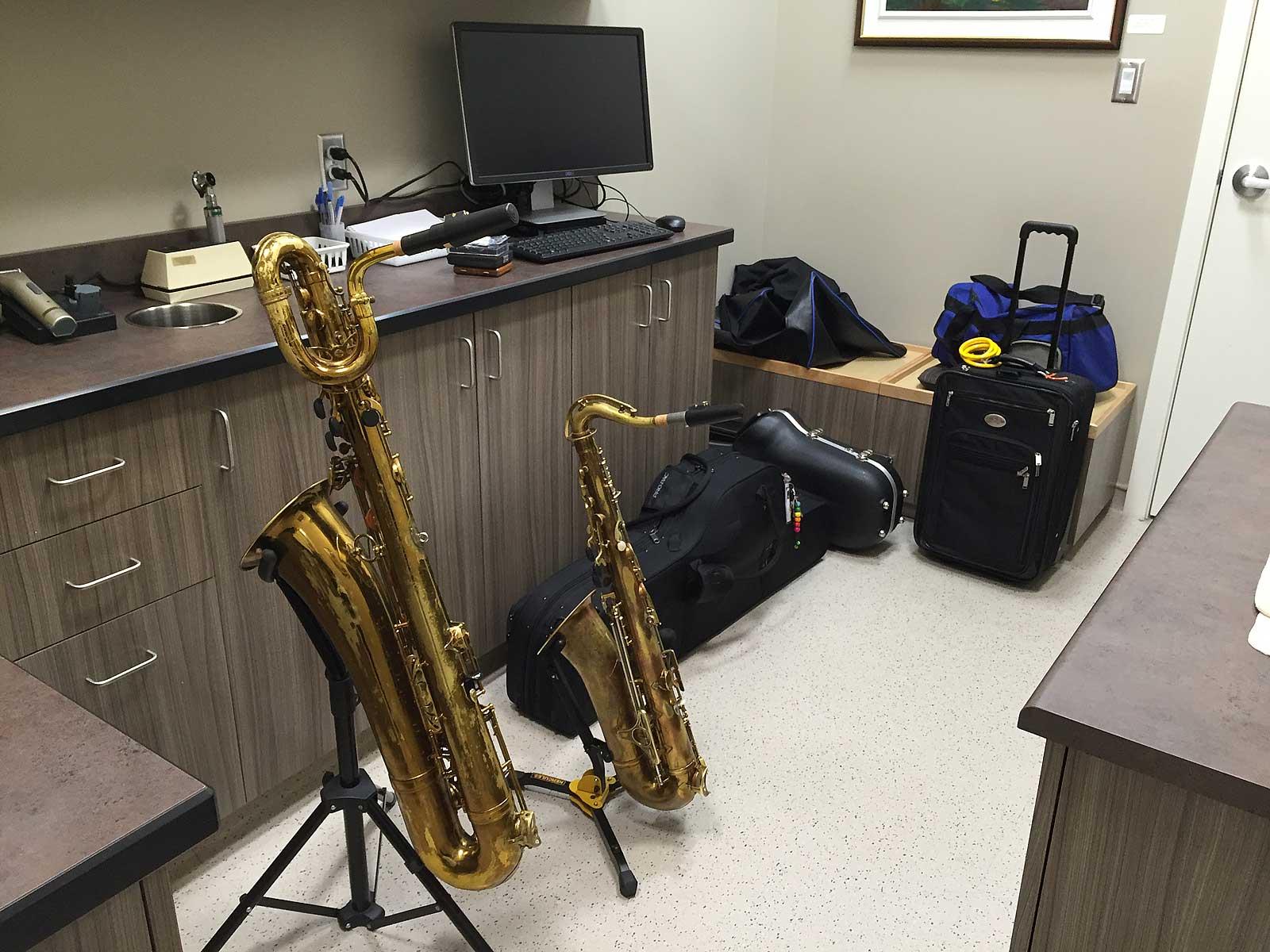 Mark VI bari sax, King Zephyr tenor sax, gig gear, green room, vet hospital exam room