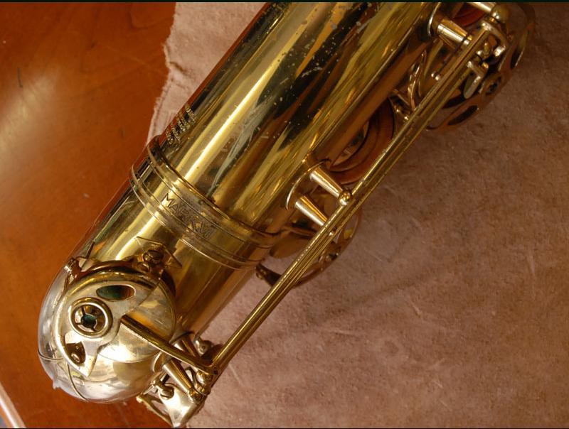 Mark VII Stamp, Selmer Mark VII baritone saxophone, body tube to bow connecting ring, bari sax,