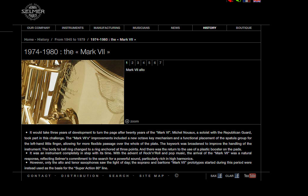 Selmer-Mark-VII-Description, Selmer Paris, screen shot