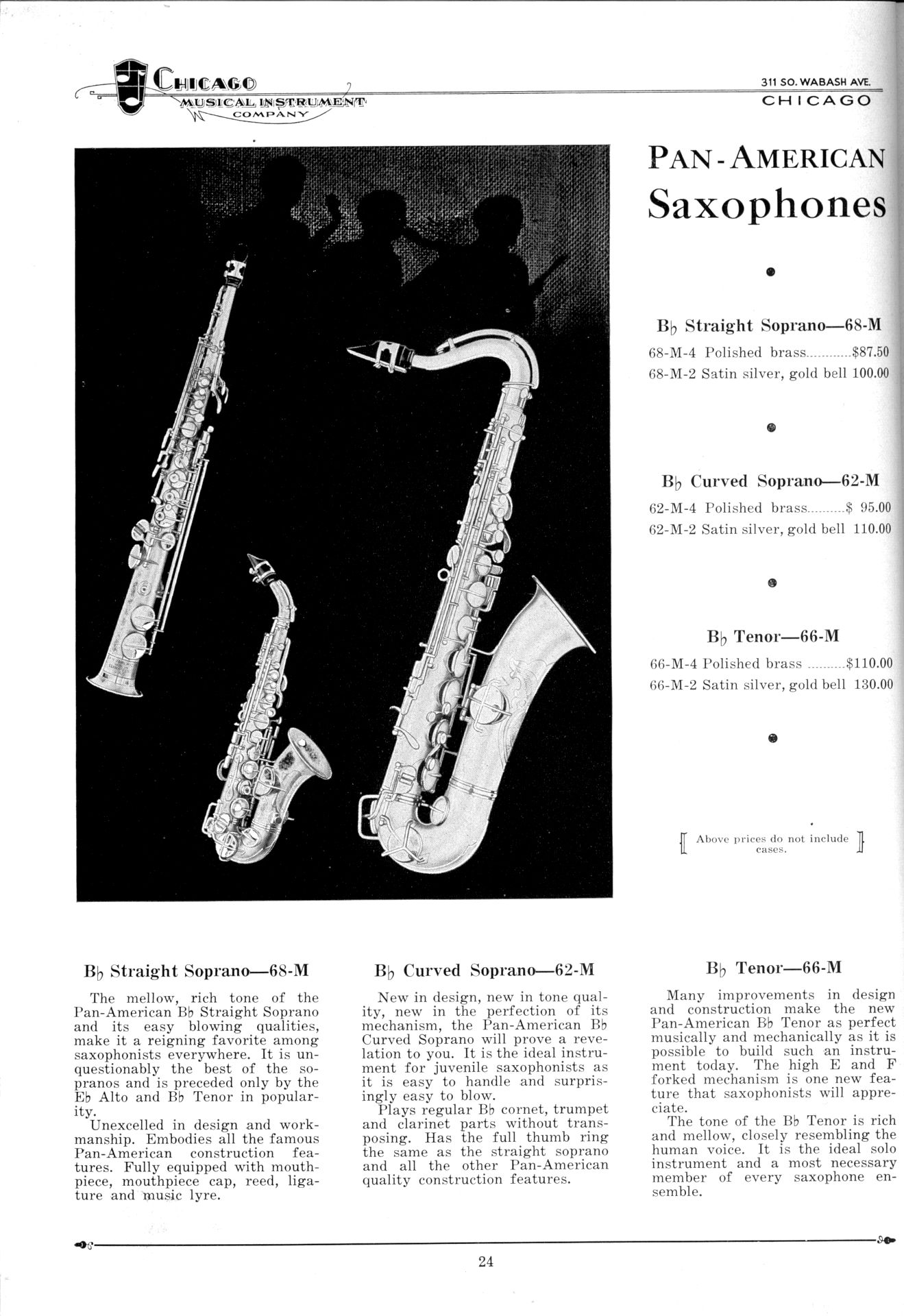 Pan American saxophones, vintage catalogue, 1931, Chicago Musical Instrument Co., soprano sax, curved soprano, straight soprano, tenor saxophone, 66M, 62M, 68M