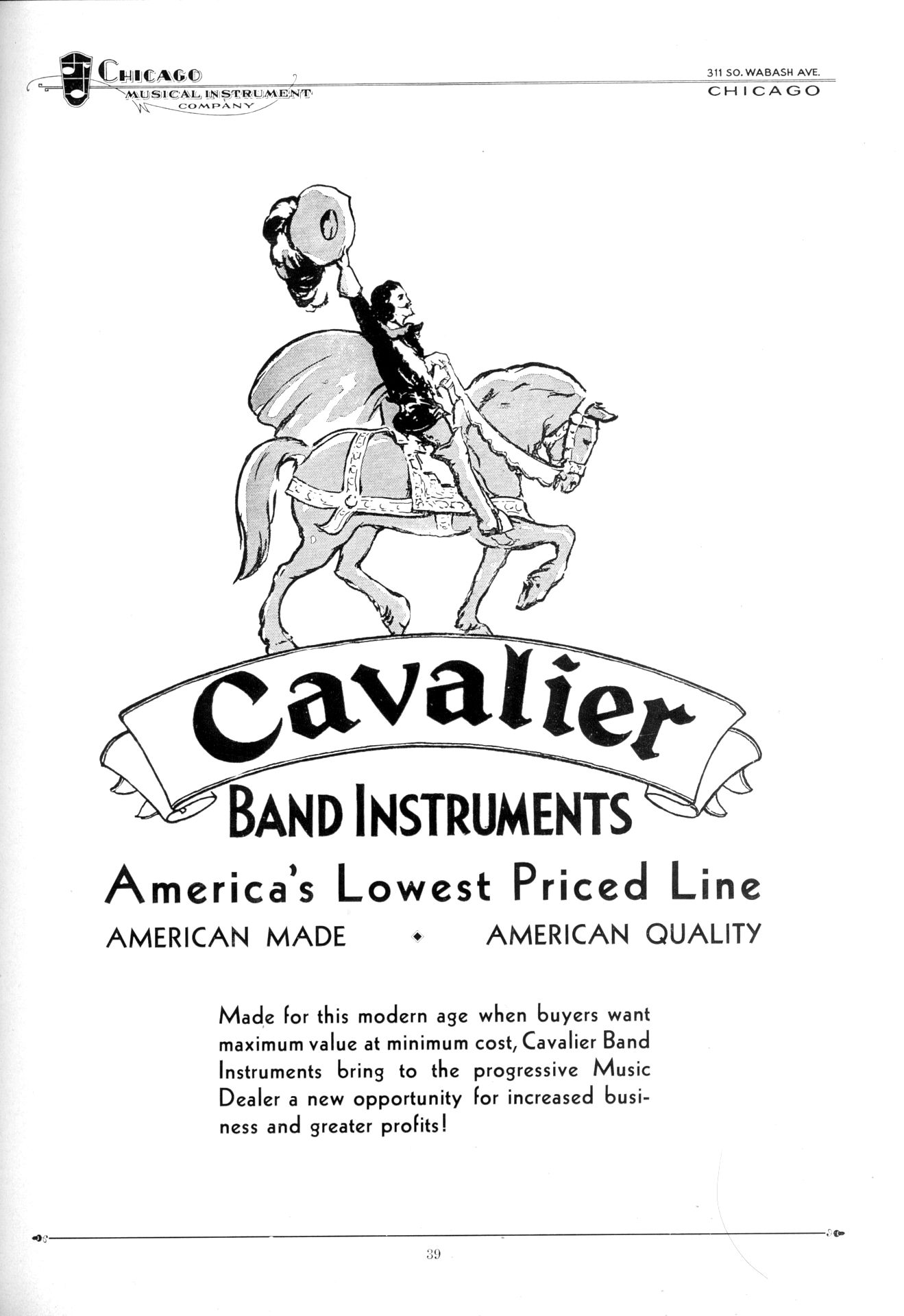 Cavalier Band Instruments, vintage catalogue, 1931, Cavalier saxophones, Pan American, Conn, Chicago Musical Instrument Company