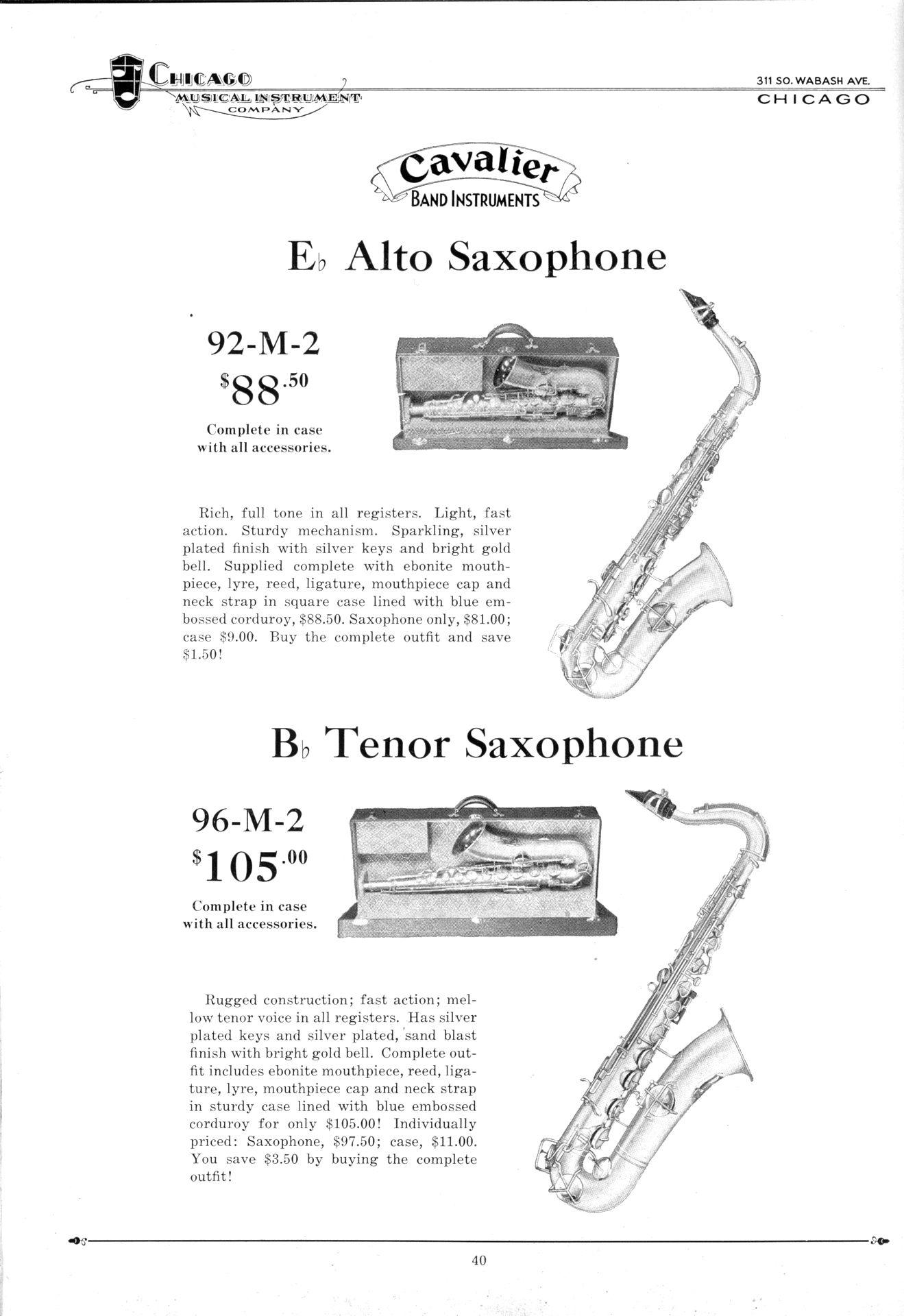 Cavalier Band Instruments, vintage catalogue, 1931, Cavalier saxophones, Pan American, Conn, Chicago Musical Instrument Company, 92M, alto saxophone, 96M, tenor saxophone