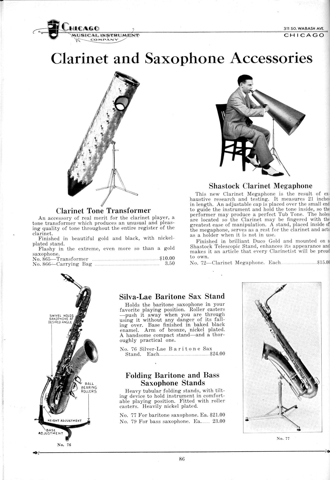 Chicago Musical Instrument Company catalogue, 1931, Hamilton bari & bass sax stands, Silva-Lae baritone sax stand, clarinet tone transformer, Shastock clarinet megaphone