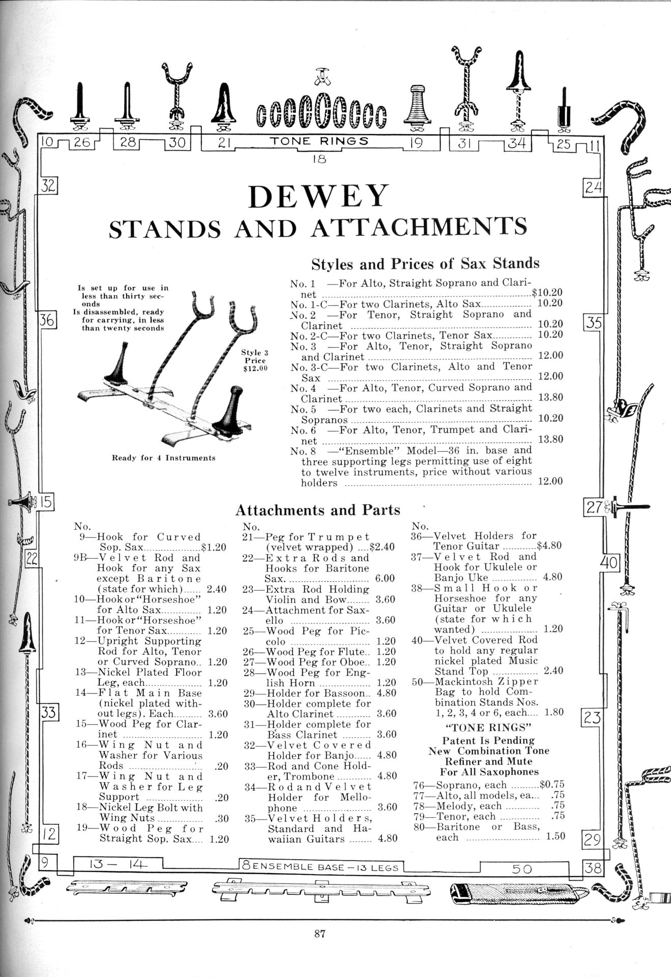Chicago Musical Instrument Company catalogue, 1931, Dewey sax stands, tone rings