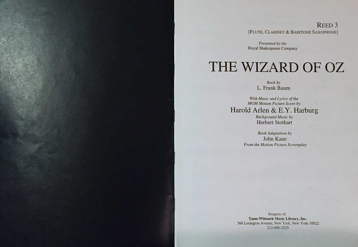The Wizard Of Oz, Reed 3 book, musical,
