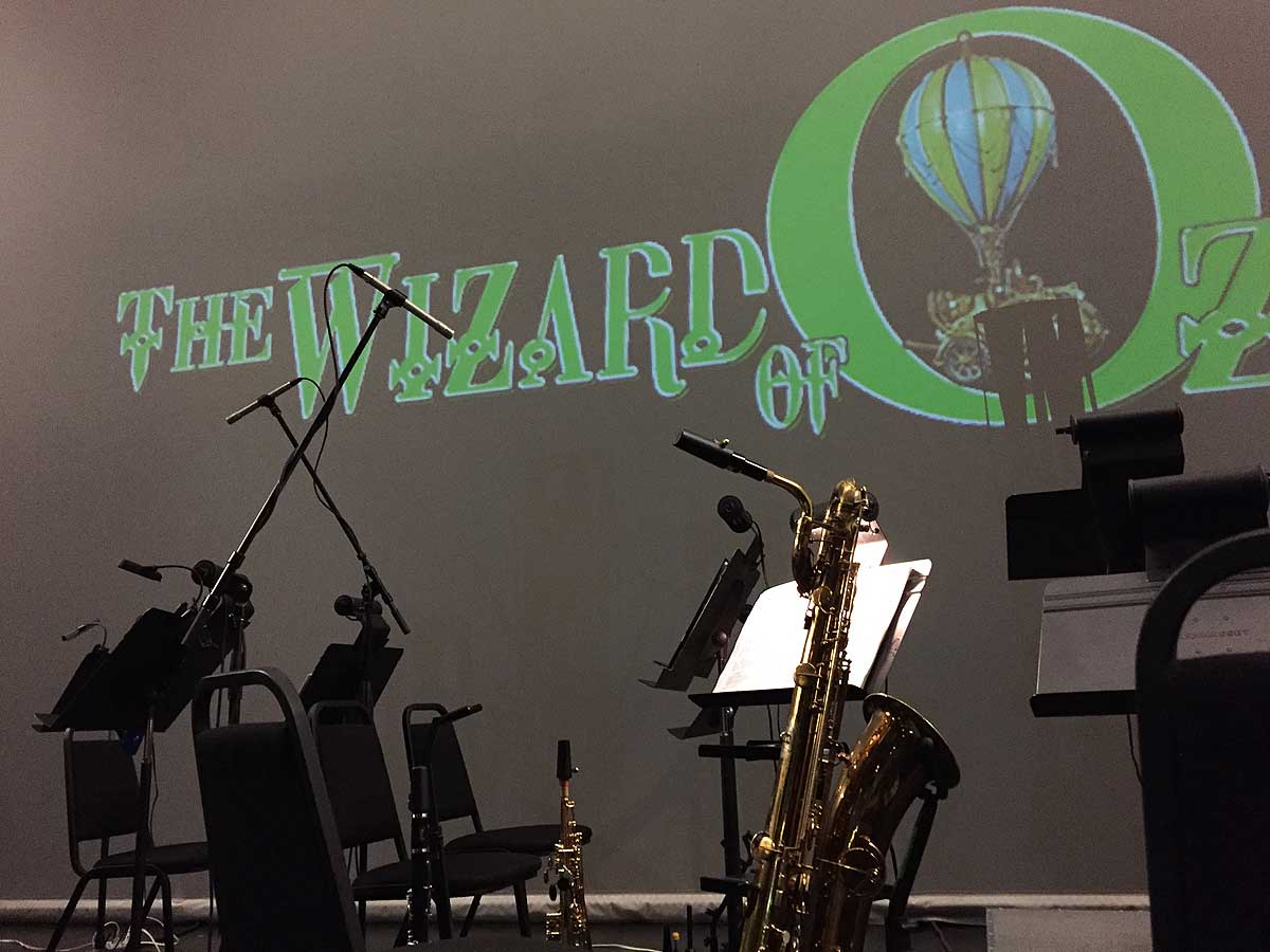 The Wizard Of Oz musical, Secondary Characters Musical Theatre, pit orchestra, bari sax, music stands, soprano sax, clarinet, the summer of Oz