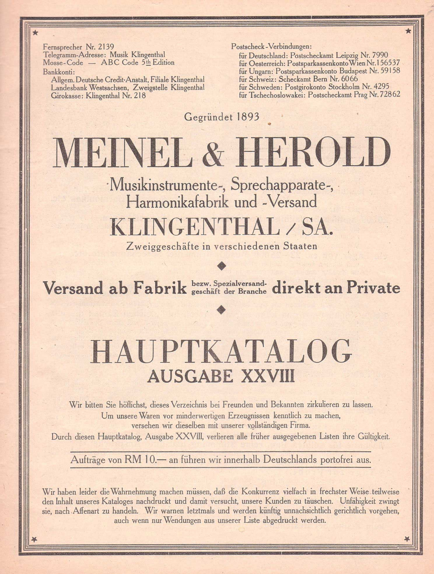 Meinel & Herold vintage catalogue, vintage musical instrument catalogue, German catalogue,