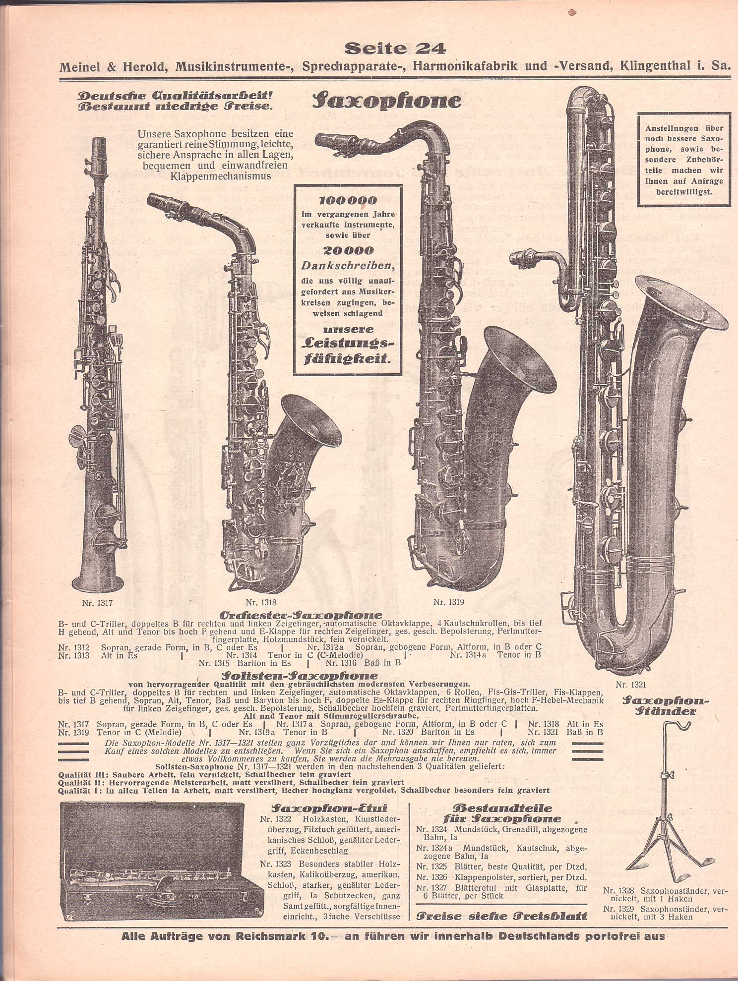 Meinel & Herold vintage catalogue, vintage musical instrument catalogue, German catalogue, saxophone descriptions in German,