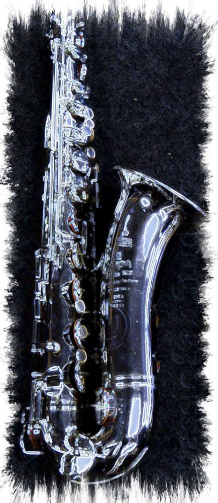A.E. Sax C-pitched tenor sax, black and white saxophone image, artisitic saxophone image