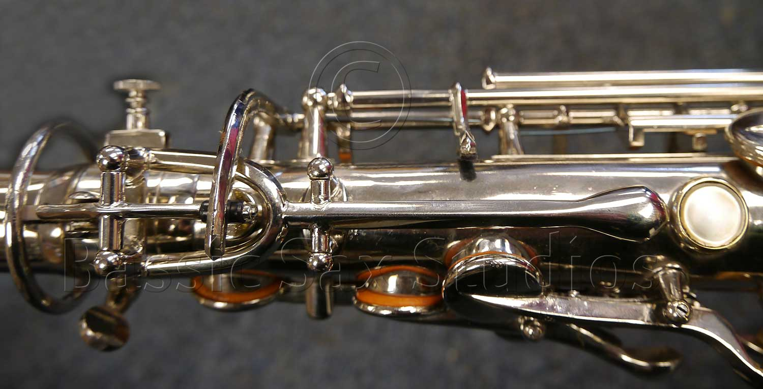 A.E. Sax C-pitched tenor sax, octave key mechanism,, silver sax, Adolphe Sax, antique saxophone