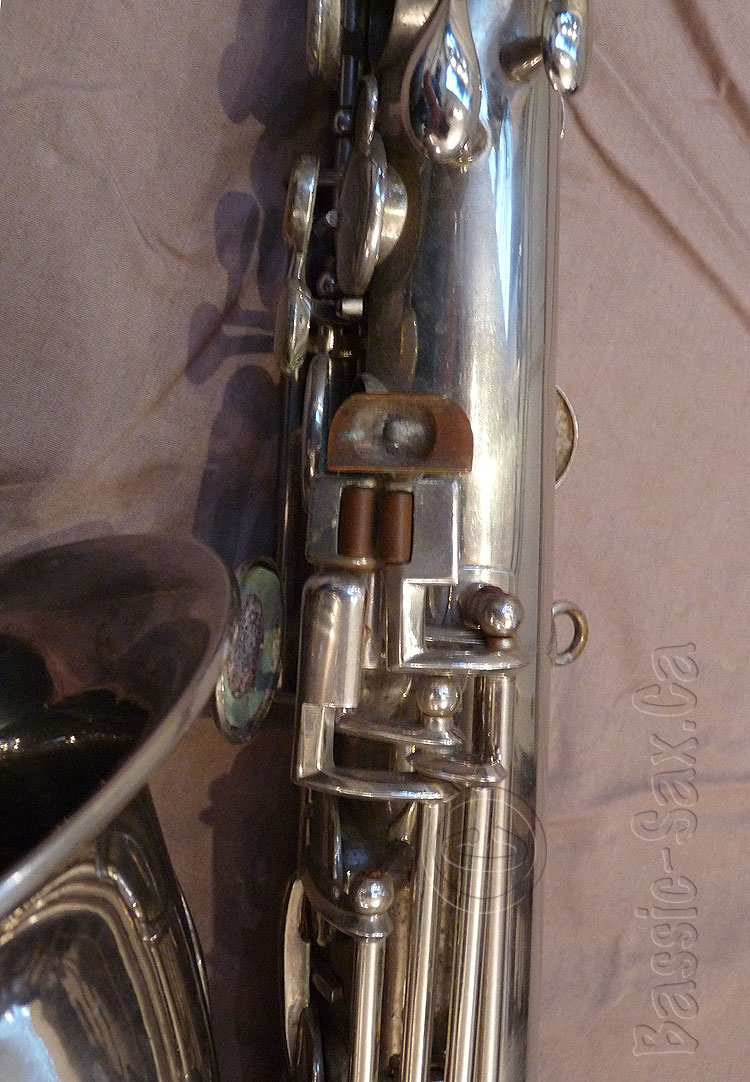 A.E. Sax C-pitched tenor sax, unrestored saxophone, replacement key, silver sax, Adolphe Sax, antique saxophone